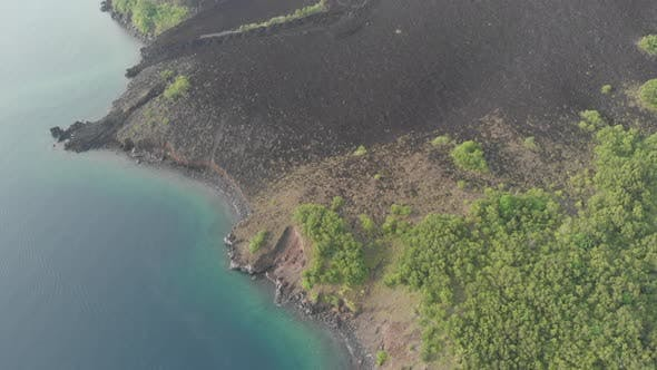 Thumbnail for Aerial: flying over Banda Islands active volcano Gunung Api lava flows Maluku