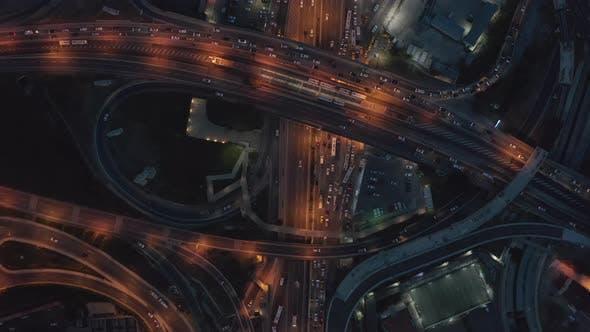 Aerial Establishing Shot of Huge Freeway Intersection at Dusk in Istanbul, Birds Eye View Overhead