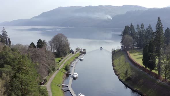 Aerial View of Fort Augustus on the Shores of Loch Ness Scotland