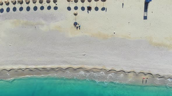Thumbnail for Top Down View Beautiful Sandy Beach in Ionian Sea, Greece