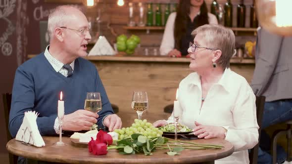 Thumbnail for Couple of Old People on a Date Clinking Glasses and Enjoy Wine