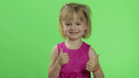 Thumbnail for Girl in Pink Dress Show Thumbs Up. Happy Four Years Old Girl. Chroma Key