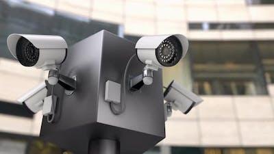The Surveillance CCTV Cameras Monitoring Entrances To the Building