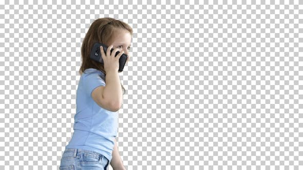 Thumbnail for Little girl talk phone and walking, Alpha Channel