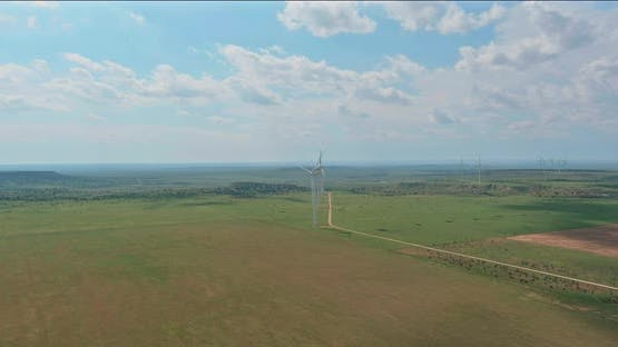 Tall Wind Blade Generators in a West Texas Field of a Larger Wind Farm