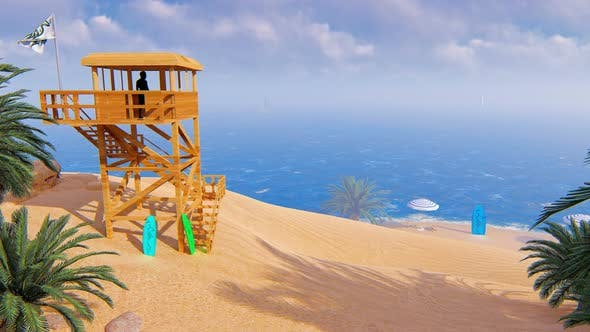 Coast Of The Sea And A Rescue Tower 2k