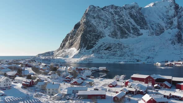 Thumbnail for City of Reine under the fresh snow in a blue and sunny sky during winter.