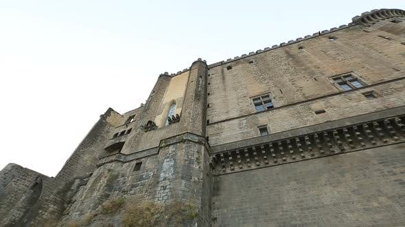 Panorama of medieval Maschio Angioino castle in Naples, antique architecture