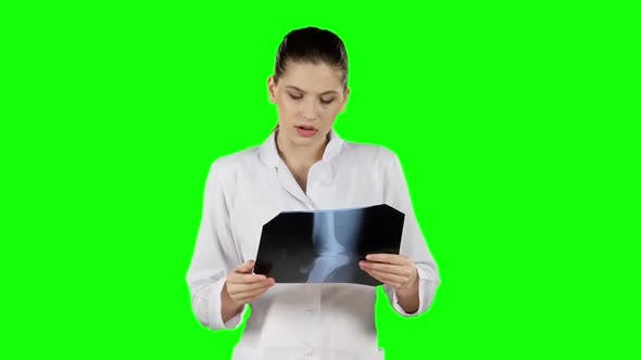 Thumbnail for Health Worker with X-ray. Green Screen