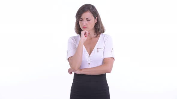 Thumbnail for Stressed Businesswoman Thinking and Looking Down