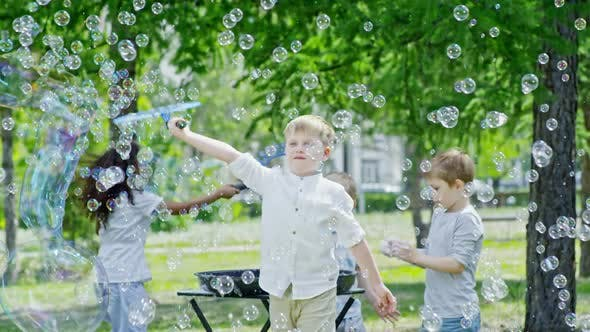Cover Image for Joyous Children Having Fun while Blowing Soap Bubbles