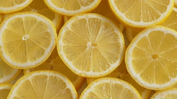 Thumbnail for Lemon Slices Closeup, Summer Background, Fruits Top View