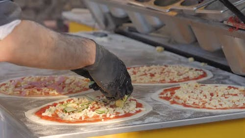 Chef Cooking Italian Neapolita Pizza in Oven with Flame Fire Wood Strove Margarita in Cafe