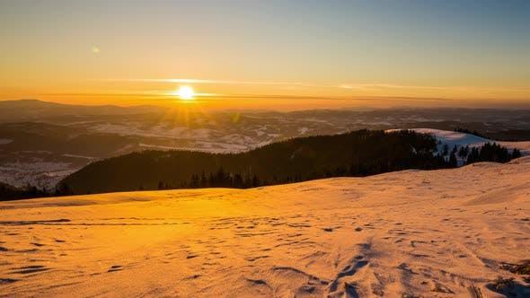 Thumbnail for Sundown Time Lapse in Winter Mountain