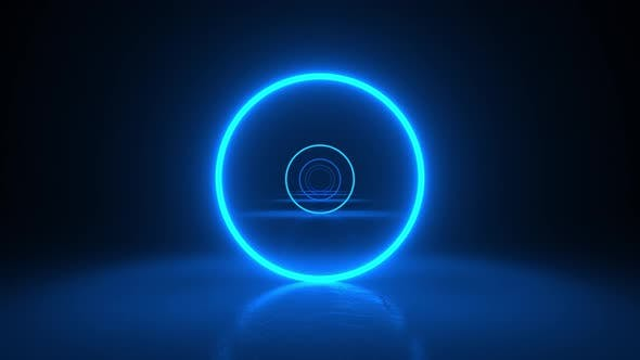 Thumbnail for Circles neon blue light in black hall room