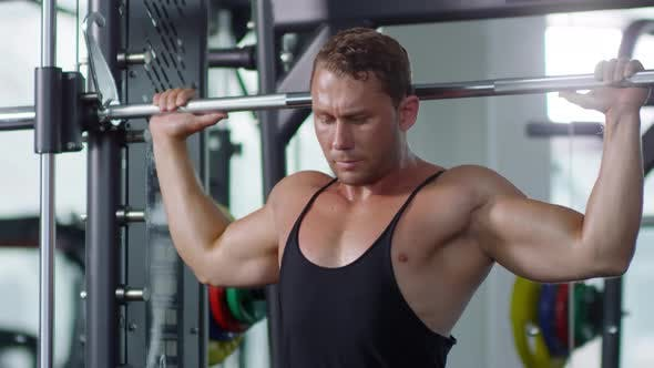 Cover Image for Muscular Man Performing Shoulder Press