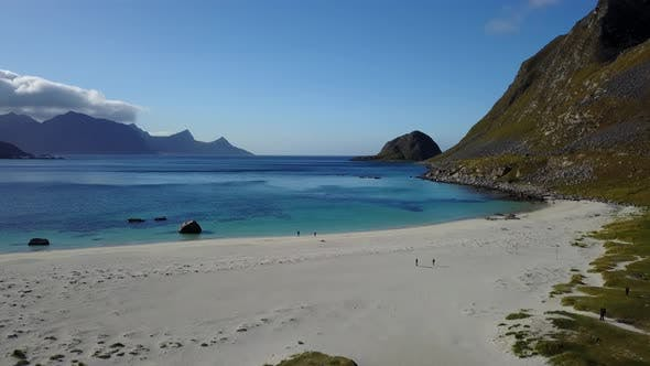 Lofoten Islands and Beach Aerial View in Norway