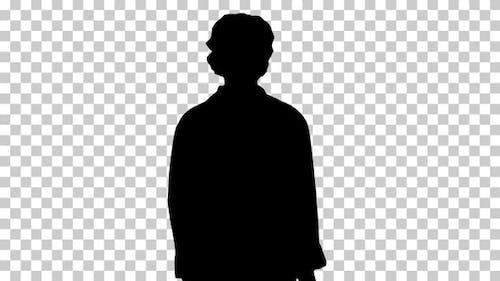 Silhouette Female Doctor Walking, Alpha Channel