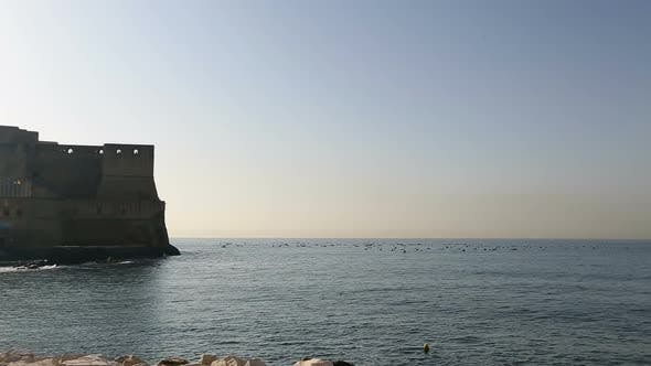 Breathtaking panorama of Egg castle in Naples, view from seafront, sequence