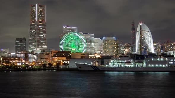 Thumbnail for Yokohama Seafront at Night Illumination Timelapse
