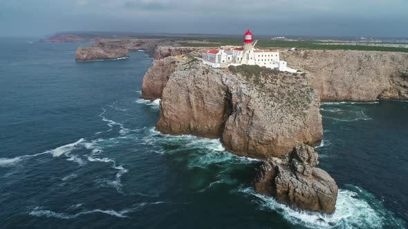 Thumbnail for Aerial of Lighthouse Cabo Sao Vicente in Portugal