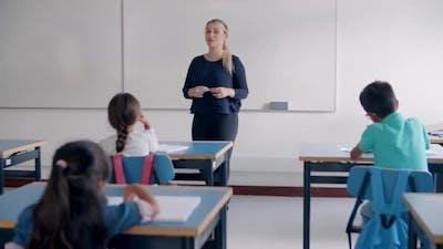 Female Teacher Giving and Explaining Task