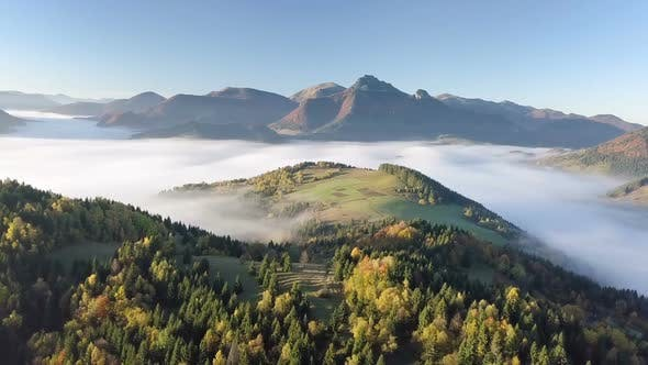 Thumbnail for Aerial Morning above Foggy Landscape in Autumn with Beautiful Golden Colors