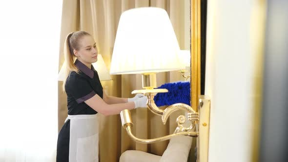 Office Cleaning Services, Houses, Hotels and Apartments. High Quality Room Cleaning. Close-up Shot