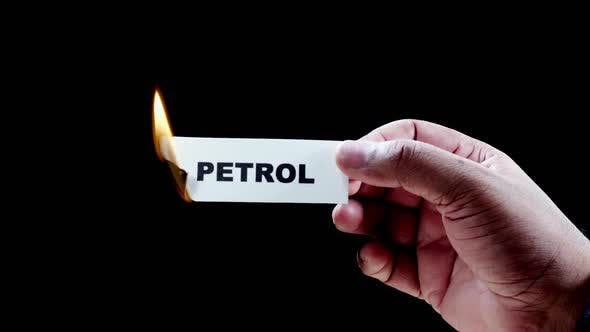 Burning Paper Writing Petrol