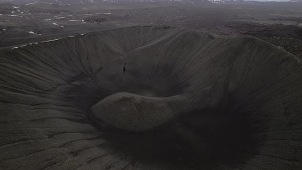 Drone Over Volcano Crater In Iceland