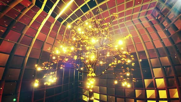 Thumbnail for Magic Gold Glowing Tree Vj Background