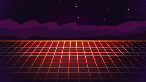Retro red grid and big mountains on futuristic background