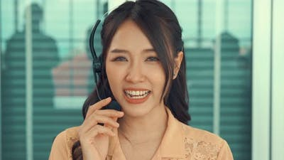 Video Call Camera View of Businesswoman Talks Actively in Videoconference