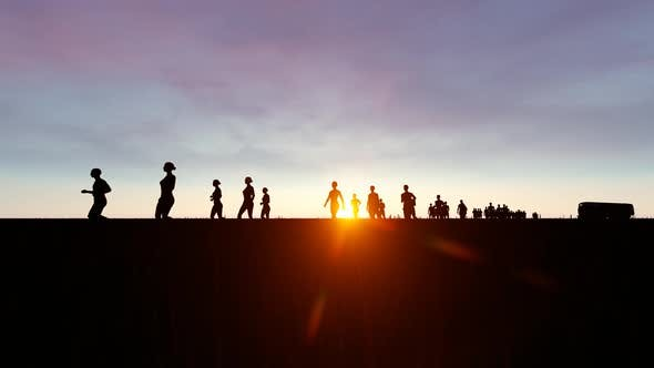Thumbnail for Running People at Sunset Landscape