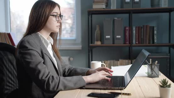 Thumbnail for Side View of Serious Lady Working on Laptop at Modern Office