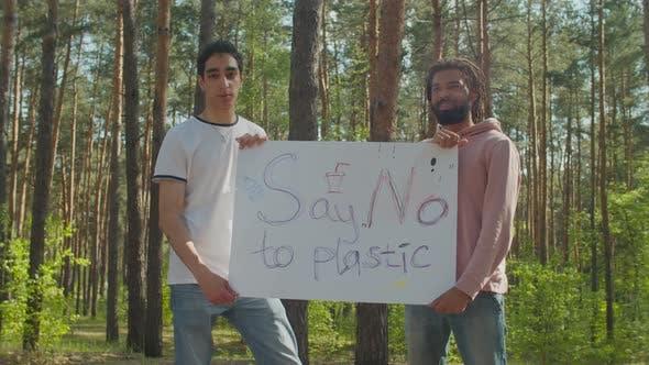Diverse Men Chanting Slogans About Planet Ecology