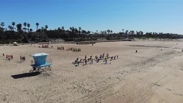 Yoga And Football Beach Aerial Parallax 4 K
