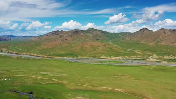 Thumbnail for Aerial Mountains Landscape in Orkhon Valley