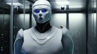 Futuristic White Android Robot in Server Room