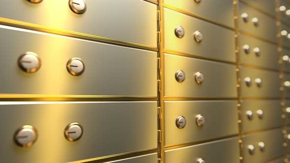 Thumbnail for Golden Safe Deposit Boxes in a Bank Vault Room