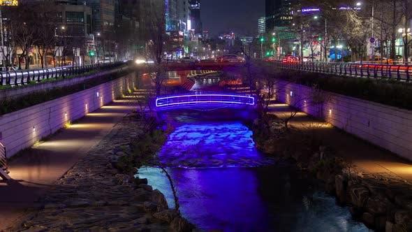 Thumbnail for Aerial Korea Illuminated Seoul Cheonggyecheon