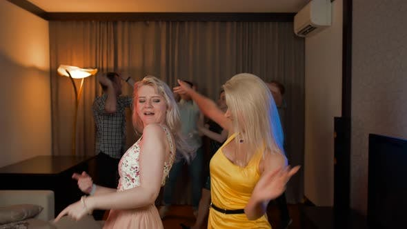 Thumbnail for Two Attractive Sexy Girls Dancing at Party with Her Friends Behind.