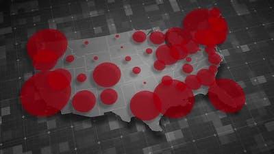 COVID19 Coronavirus Epidemic - USA Population Map 02 - HD