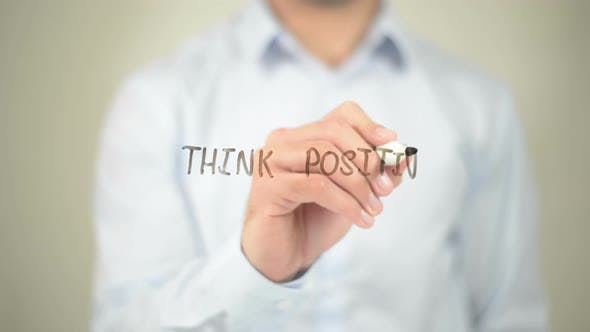 Thumbnail for Think Positive, Businessman Writing on Transparent Screen