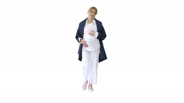 Thumbnail for Pregnant Woman Feeling Birth Contractions on White Background.