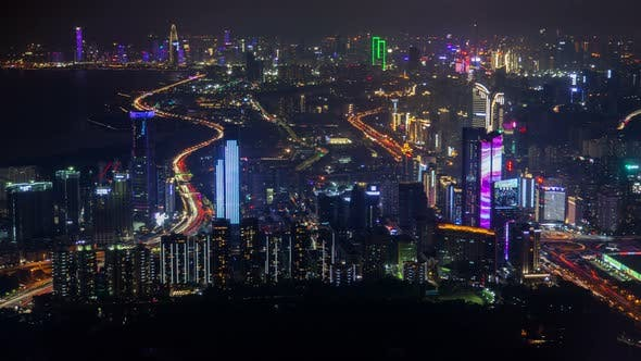 Thumbnail for Timelapse Shenzhen Buildings with Flashing Advertisement
