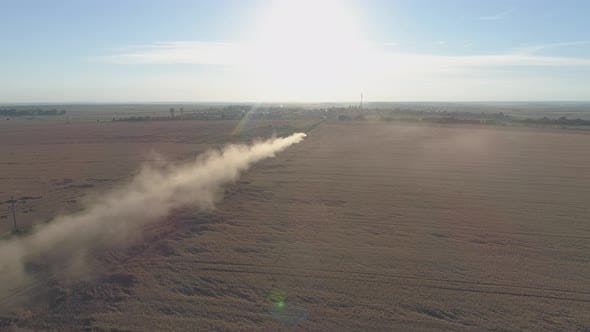 Aerial view of dry lands in the summer time