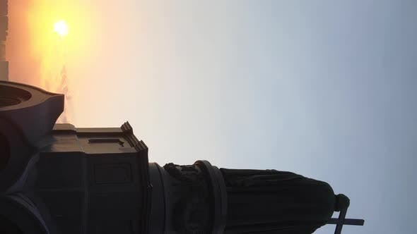 Thumbnail for Vertical Video  Monument To Vladimir the Great at Dawn in the Morning