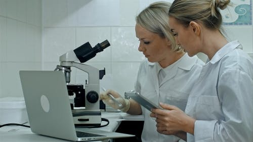 Researchers in labcoats are checking the samples on microscope