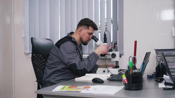 Thumbnail for Man Working with a Microscope in a Laboratory